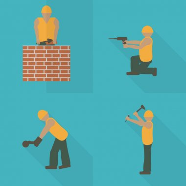 Construction worker flat icon set. Design template vector illustration. Mason with trowel. Laborer with hammer.