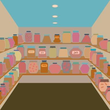 Mason jars  in a cellar. Flat design  vector illustration.