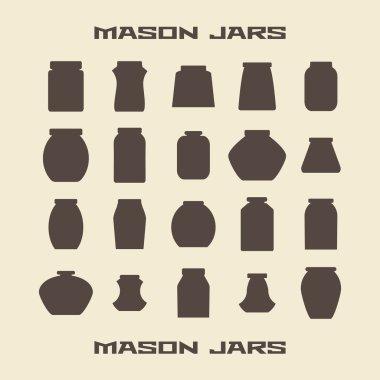 Mason jars  silhouette icons set. Vector illustration  template.