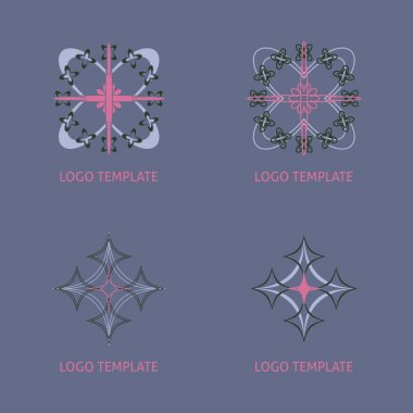 Vector ornamental symbols collection. Geometric logo  set.