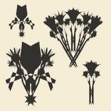 Flowers bouquet set. Grunge  design template.
