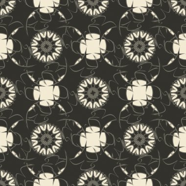 Geometric ornament seamless pattern.  Textile design template seamless background. Round, polygonal and grunge motif endless texture. Monochrome sample vector illustration.