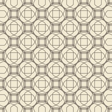 Geometric ornament seamless pattern.  Textile design template seamless background. Round, polygonal and linear motif endless texture. Monochrome  vector illustration.