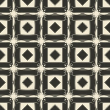 Geometric ornament seamless pattern.  Textile design template seamless background. Round, polygonal and grunge motif endless texture. Monochrome  vector illustration.
