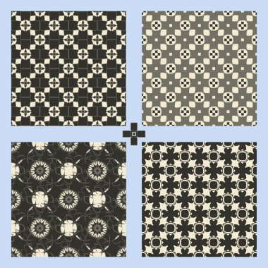 Geometric ornament seamless pattern set.  Textile design template seamless background collection. Round, polygonal and grunge motif endless texture. Monochrome   vector illustration.