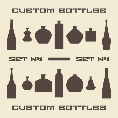 Different bottle types silhouette icon set.