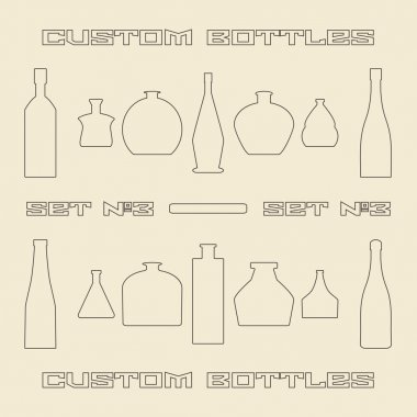 Different bottle types linear icon set.