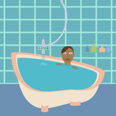 African american female in bathroom.