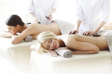 Two women getting massage