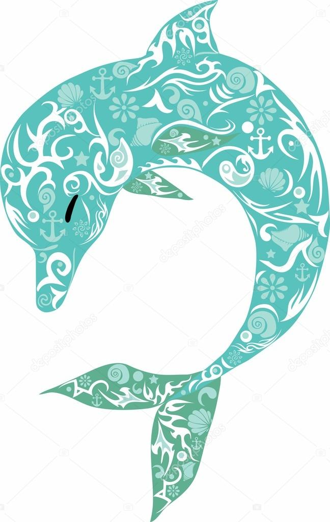 Dauphin couleur turquoise mer animaux dauphin avec motif - Dauphin dessin couleur ...