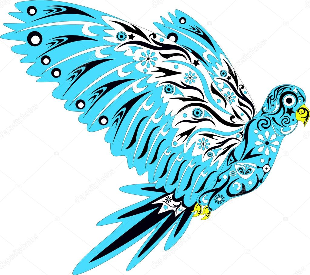 The Parrot With A Pattern Bird Drawing An Animal Flies Yellow Beak Bright Plumage Wings In Feathers