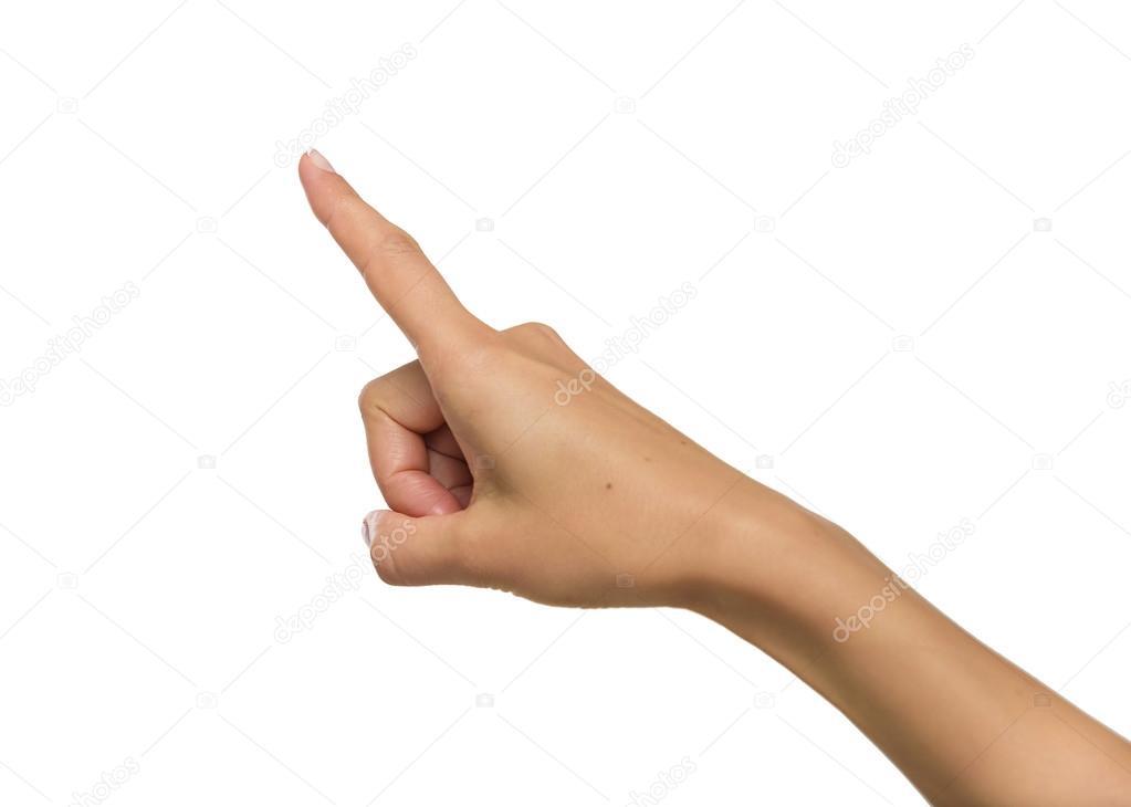 女性の手の人差し指で上向き — ...