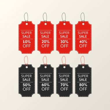 Pack of red and black price labels with letters. Vector template illustration icon