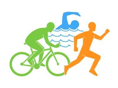 Color vector linear and flat logo triathlon.