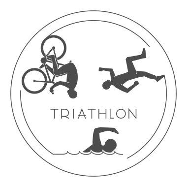 Black logo triathlon. Vector figures triathletes.