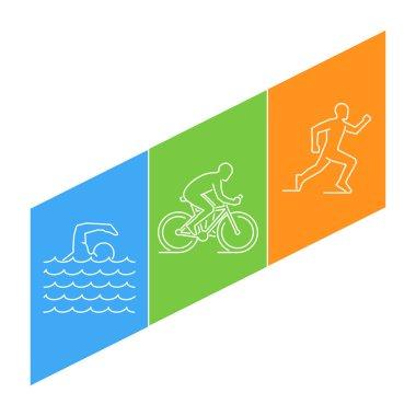 Vector line illustration triathlon and figures triathletes.