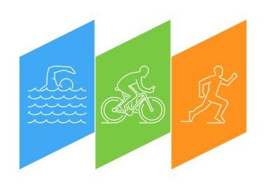 Color line logo triathlon and figures triathletes.