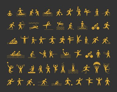 Vector sports icons set. Gold shapes athletes.