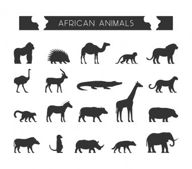Vector black silhouettes of African animals.