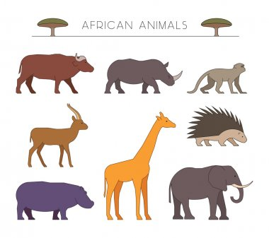 Outline african animals. Linear african animals.