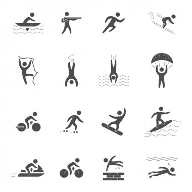 Black icons for extreme sports.