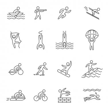 Outline icons for extreme sports.