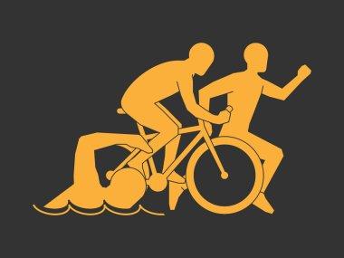 Gold symbol triathlon.