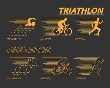 Modern line triathlon symbol.
