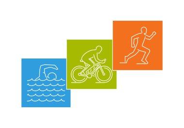 Stylish logo for triathlon on white background