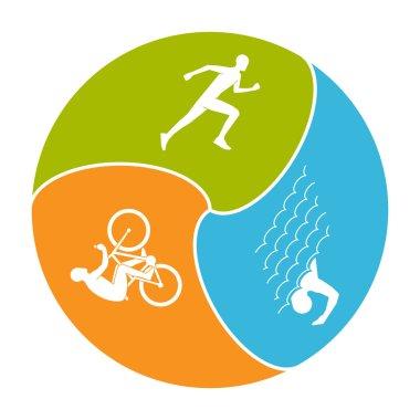 Vector stylish logo for triathlon