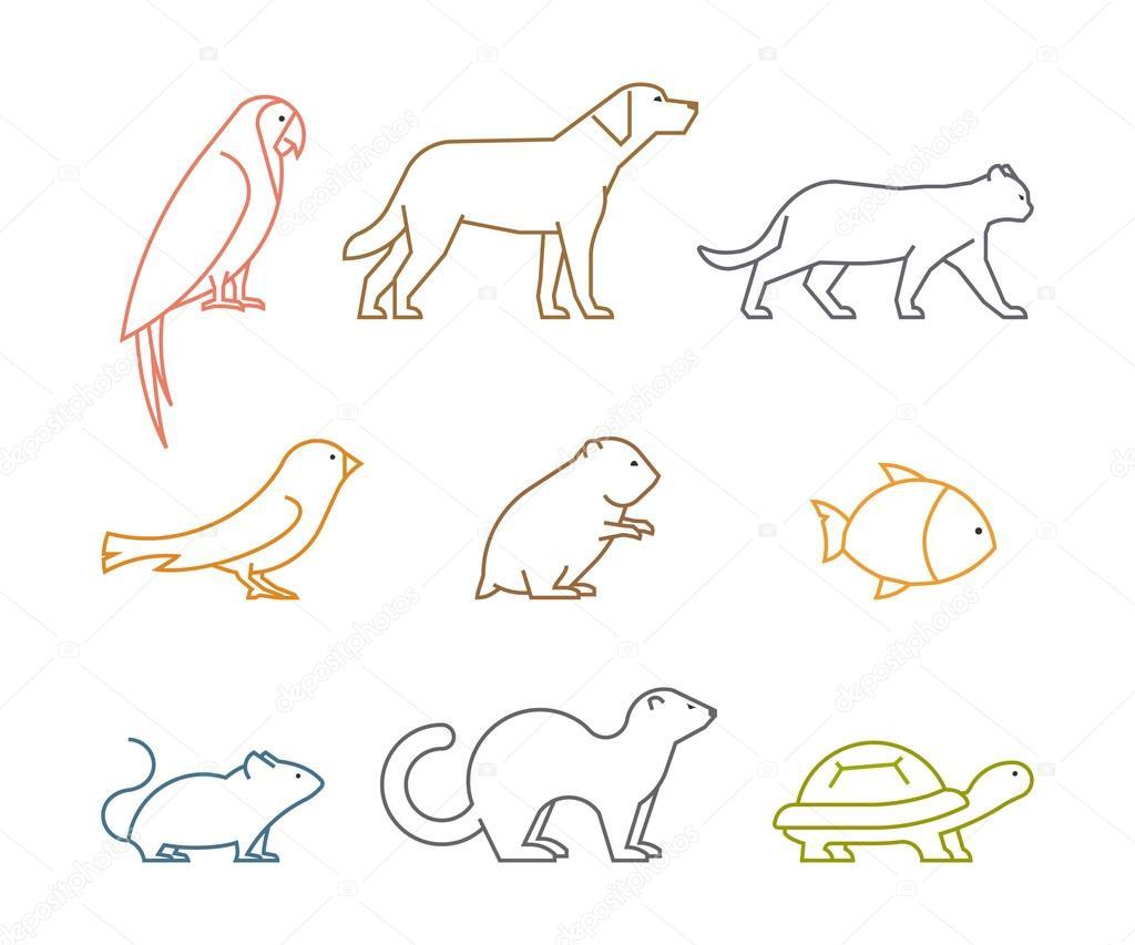 Dibujos Siluetas De Animales Domesticos Para Pintar Grupo De