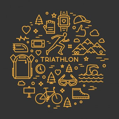 Vector linear prints on T-shirts for triathlon