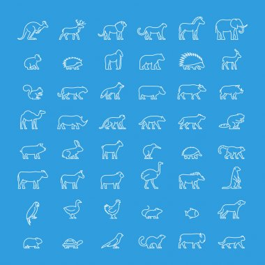 Vector line set of silhouettes of animals