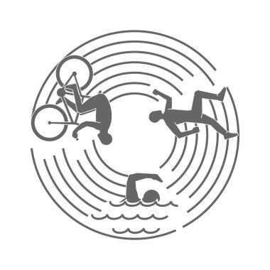 Vector line design concept for triathlon