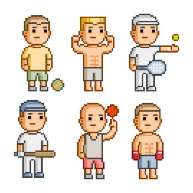 Pixel art collection athletes