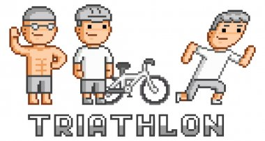 Pixel logo triathlon
