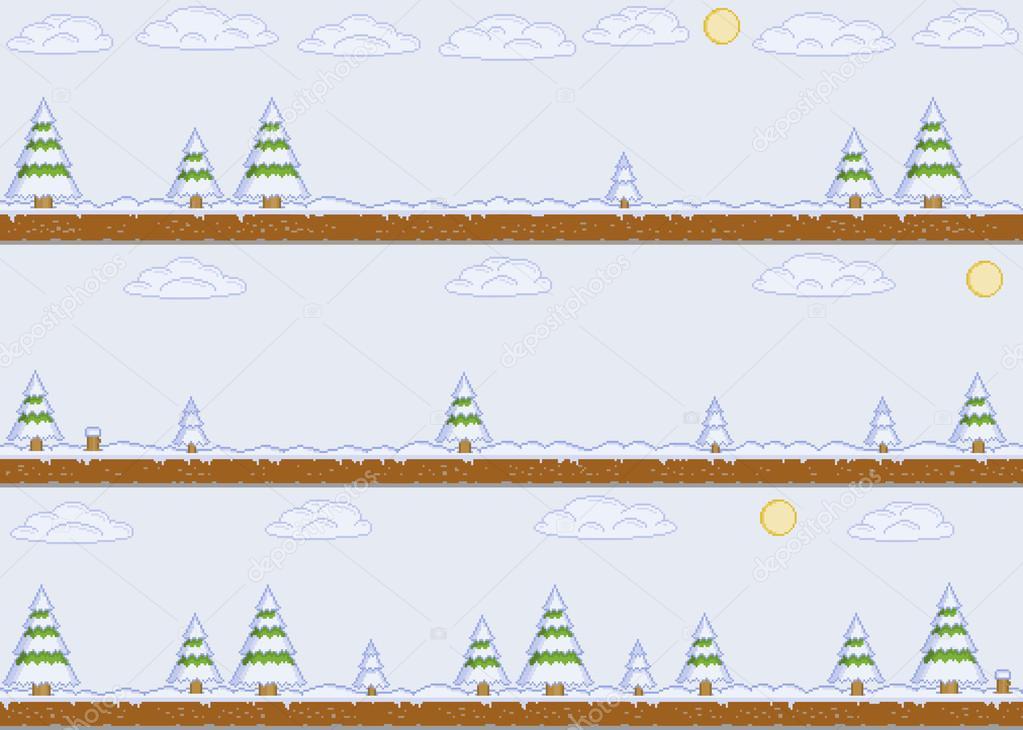 Pixel art winter day background