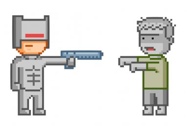 Vector pixel cyborg and zombie for game