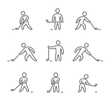 Outline hockey icons set