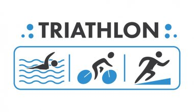 Silhouettes of figures triathlon athletes