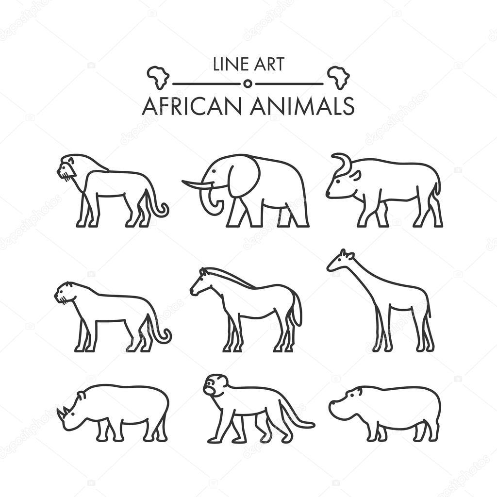 Contorno de figuras de animales africanos — Archivo Imágenes ...