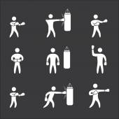 Silhouettes of figures boxer icons. Boxing symbols