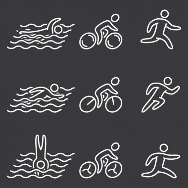 Linear of figures triathlon athletes. Swimming, cycling and runn