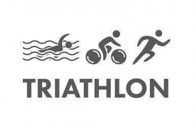 Triathlon logo and icon. Swimming, cycling, running symbols
