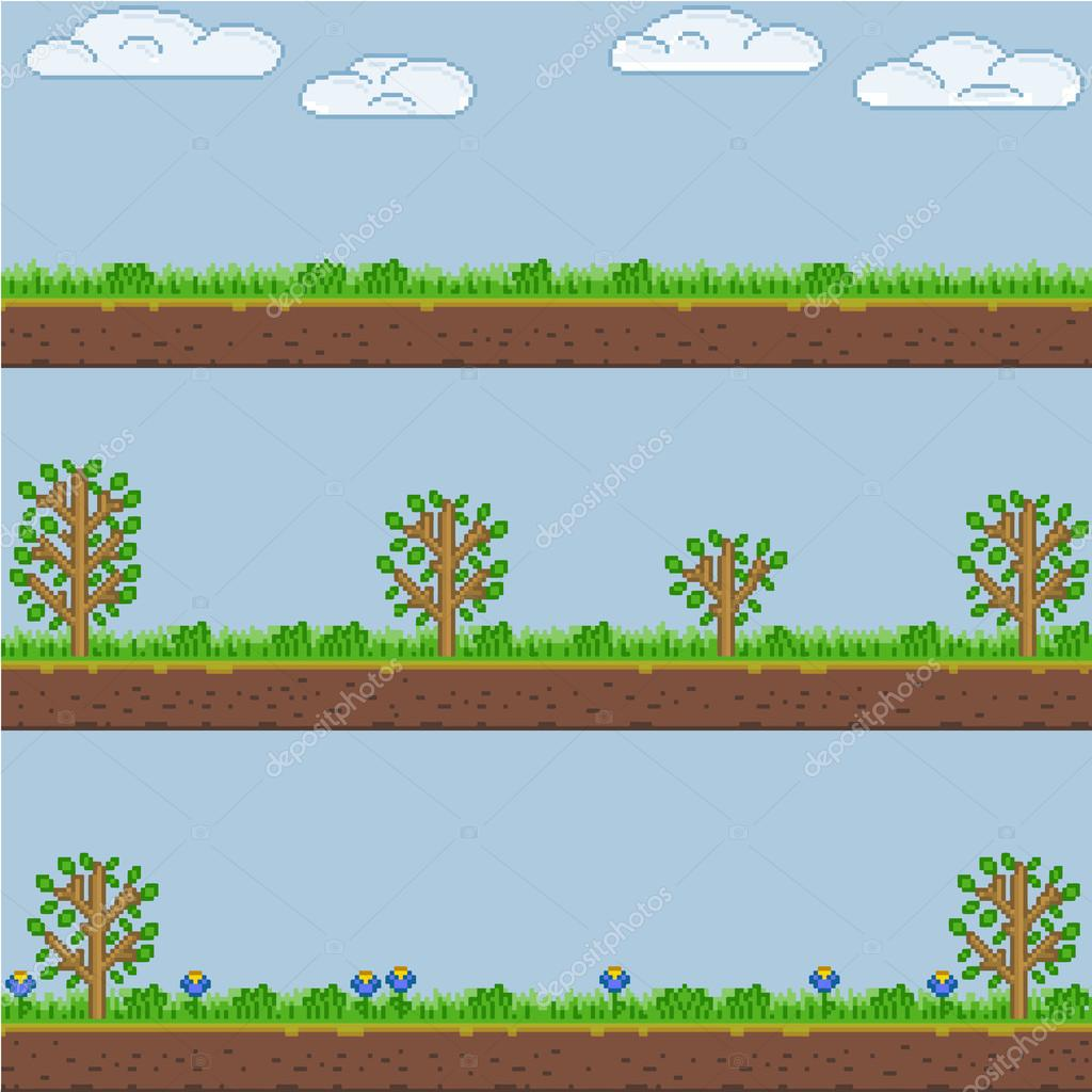 Vector pixel art forest green background and texture