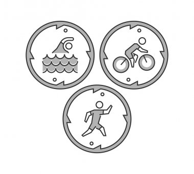 Line triathlon logo and icons. Silhouettes of figures triathlete