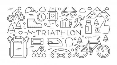 Horizontal line banner triathlon. Vector sport concept. Vector l
