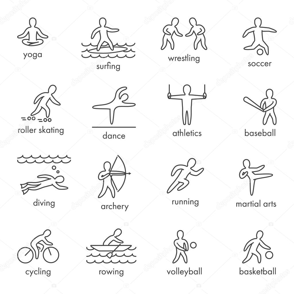 Linear vector shapes athletes icon and symbols for popular spor icon and symbols for popular spor stock vector biocorpaavc Choice Image