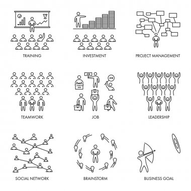 Vector linear icon set for business