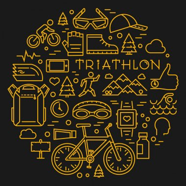 Line triathlon logo and icons. Silhouettes of figures triathlete